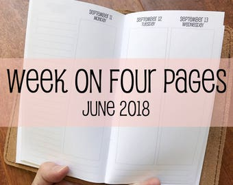 Traveler's Notebook PERSONAL Size Week on Four Pages {June 2018} #700-56