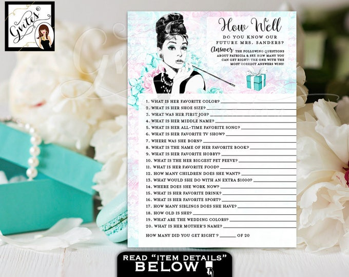 """How Well Do You Know The Bride, blue themed Audrey Hepburn party printable bridal shower games, PERSONALIZED NAME 5x7"""" 2/Per Sheet."""