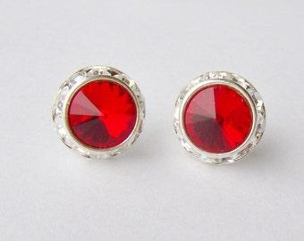 Ruby halo rhinestone stud earrings / Valentine gift / Surgical steel / Swarovski / July birthstone / birthday gift / hypoallergenic earrings