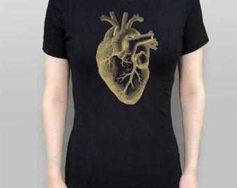 Heart Shirt Anatomical Heart T-Shirt Gold Heart Tshirt Heart Tee Women's Top Black Shirt Screen Printed Tee Women's Clothes Gothic Clothes