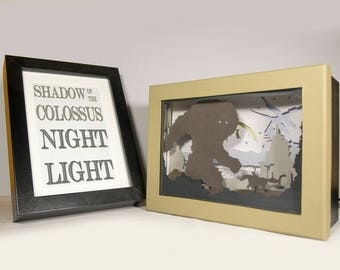 Shadow of the colossus night light, video game home decor, geek night light, video game night light, papercut night light, geek gift, geeky