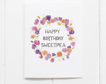 Sweetpea Birthday Card / Floral Birthday Card / Botanical Card / Watercolor Card / Sweetpeas / Flowers Card / Gifts for Her / Girls Birthday