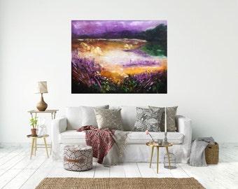 Original Oil Art Autumn Moor Painting Oryginal Idea Home Decor wall art decor lilac purple painting violet painting autumn extra large