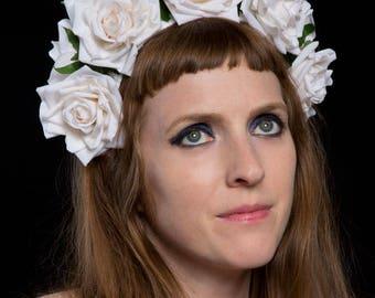 White rose crown | flower crown | headdress | hairband | hair accessory | wreath | floral crown | Frida | Snow Queen | wedding | bridal