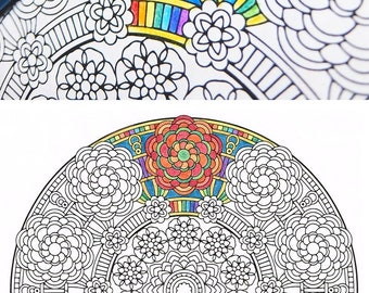 Mandala Coloring Page - Crown of Gaia - printable coloring page for mindfulness coloring, art therapy and fun!