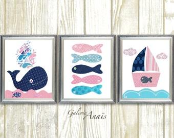 Navy Blue and Pink Nautical nursery art Nursery decor whale nursery bathroom art Baby girl Nursery Boat fish ocean sea - Set of 3 prints