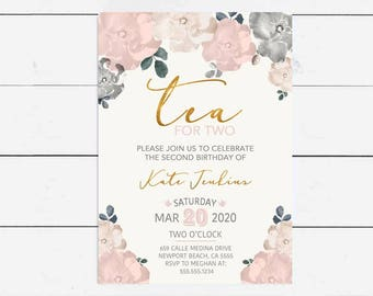Tea Party Invitations   Tea for Two Birthday Invitation   2nd   Floral Flower Invite   Printable   Printed   Teacup