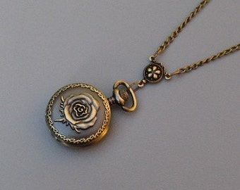 Sale - Watch Necklace - Antique Bronze - Victorian Rose Watch Locket Necklace