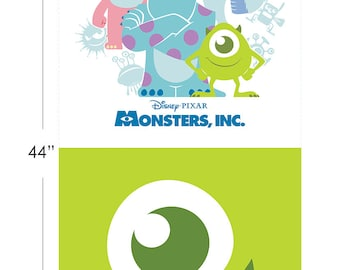 Disney Fabric Monsters Inc. Half Panel in Green From Camelot 100% Premium Cotton