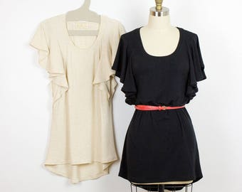 Ruffle Tunic Top, Black Scoop neck ruffle sleeve bamboo top, Womens spring fashion Made in Canada