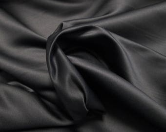 Genuine silk sateen fabric, black
