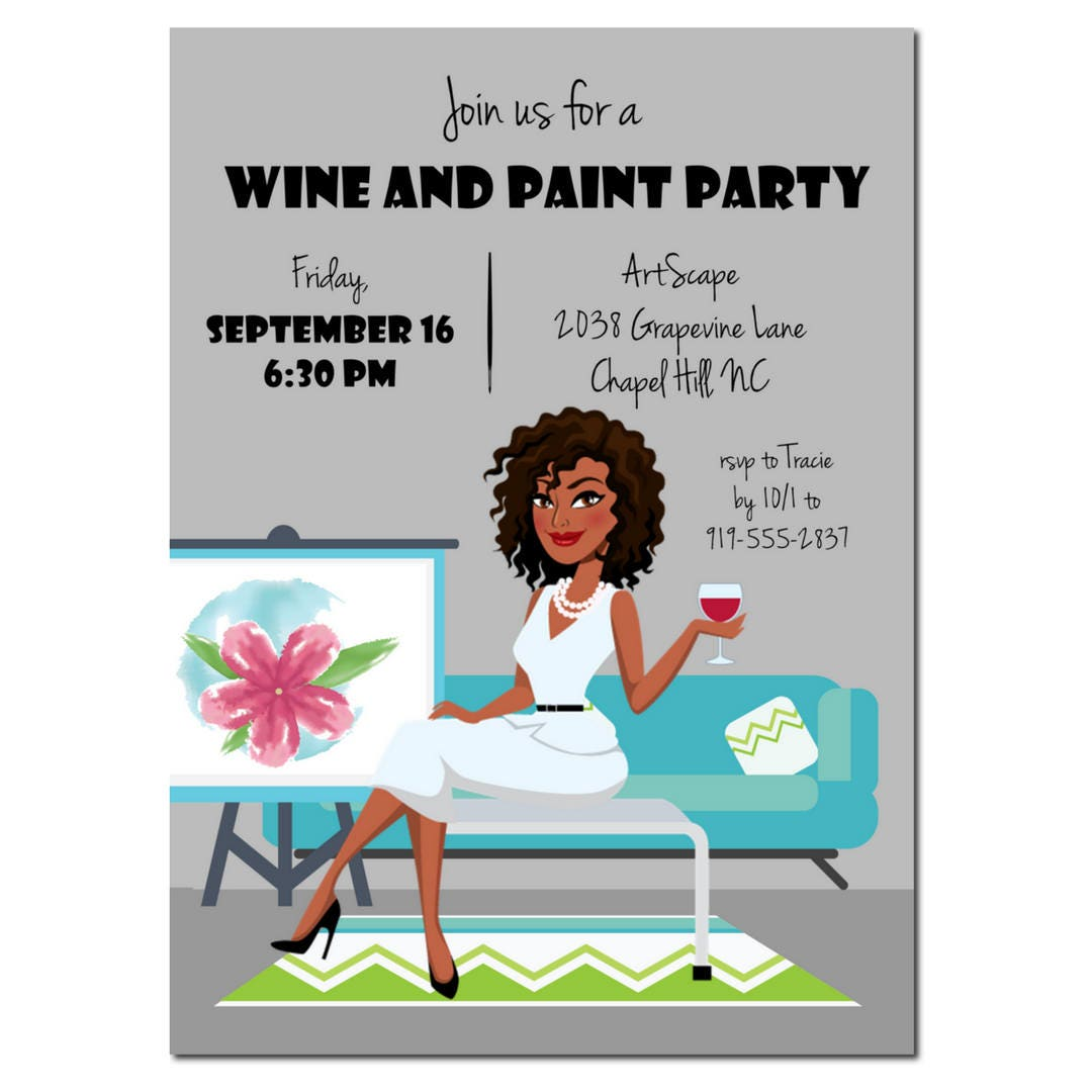 Wine and paint party invitation african american party for Wine paint party