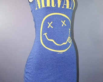 Nirvana Dress Nevermind T Shirt Kurt Cobain 90s Grunge Smiley Face Goth Band Merch