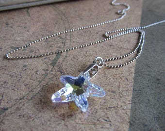 Swarovski elements starfish necklace, sterling silver starfish necklace, crystal starfish pendant