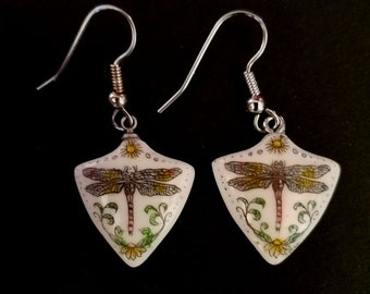 Dragonfly dangle earrings Moosup Valley Designs