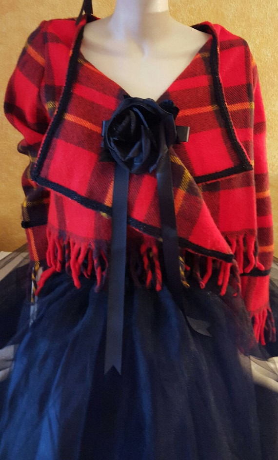 Party Holiday Length Rose Bolero Special Plaid Club Fascinator Wallace Red Hat Sash Tutu Order Tea 5 Tulle Cropped Set amp; Tartan Piece PwUnHfCq