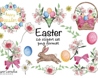 watercolor easter clipart, watercolor easter clip art, easter clipart, watercolor easter bunny clipart, easter wreath clipart