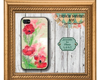 Watercolor Poppies iPhone Case, Floral iPhone Case, Red flower Case, iPhone 5, 5s, 5c, 4, 4s, iPhone 6, 6s, 6 Plus, SE, iPhone 7, 7 Plus