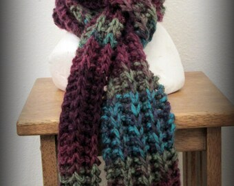 Scarf - knit scarf - hand knit scarf - acrylic knit scarf - acrylic scarf - knit ruffle scarf - burgundy knit scarf - turquoise knit scarf