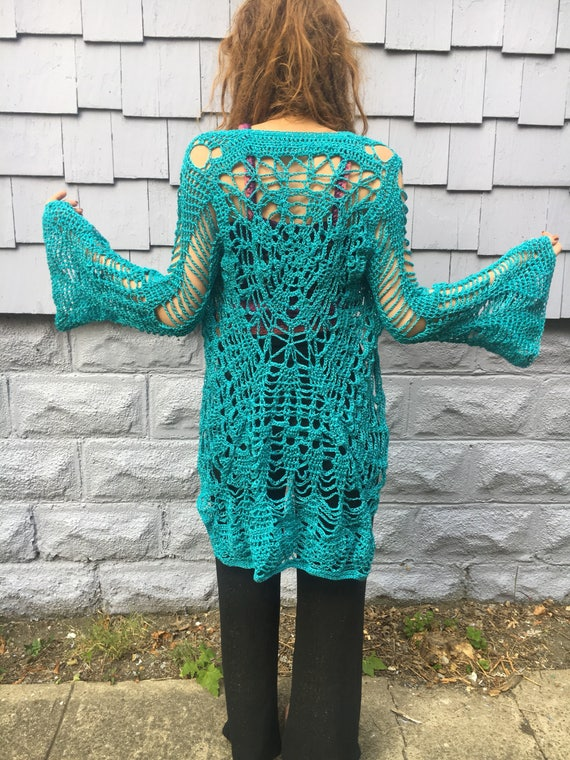 Mandala Sweater, Lace Bell Sleeve Coat, Blue Crochet Coat, Bell Sleeves Crochet Long Sleeve Sweater, Handmade One of A Kind Crotchet Sweater