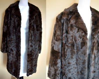 Vintage Rabbit Fur Coat / Rabbit Fur Coat / Vintage Fur Coat / Fur Coat / Brown Fur Coat / Vintage Brown Coat / Rabbit Fur