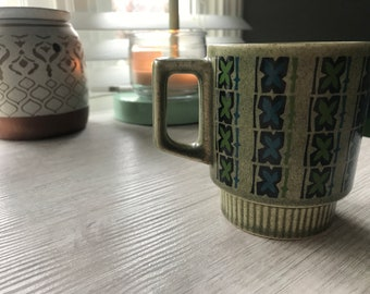 Vintage Green and Blue Coffee Mug