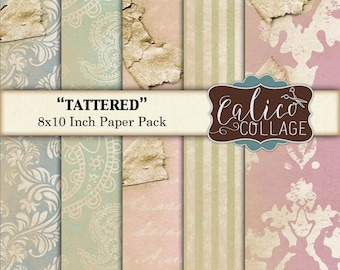 Digital Printable Paper Pack, Tattered Paper, Junk Journal, Smash Book, 8x10 Paper, Printable Paper, Decoupage Paper, Instant Download
