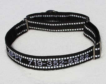 Reflective ID Dog Collar - Martingale Dog Collar - Embroidered Dog Collar - Identification Collar - Reflective