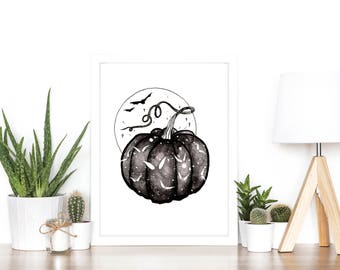 Spooky Pumpkin Luxury Watercolour and Ink Painting Print - A5 or A4