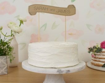 Custom Cake Banner - Kraft - Wedding Cake Topper