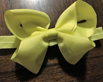 "4"" Yellow Infant/Toddler Headband Bow, Hair Bow on Elastic Band, Boutique Bow, Toddler Bow, Bow Headband, Kids Headband, Baby Bow, Bow"