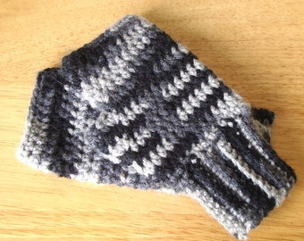Handmade Fingerless Gloves Handwarmers Black Grey White SRA Crochet Ladies