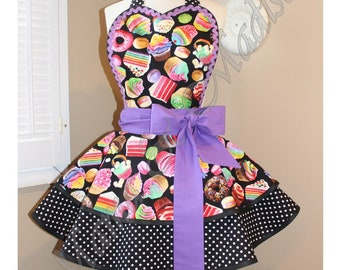 Rainbow Cupcakes + Desserts Fun Fabric Woman's Retro Apron Accented With Polka Dots, Featuring Heart Shaped Bib...Plus Size Available