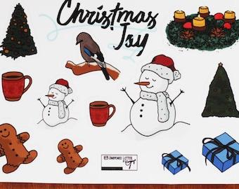 Deco sticker Set, Christmas Joy – transparent – winter Doodles