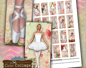 Ballerina, Collage Sheet, 1x2 Collage Sheet, Domino Images, Digital Collage, Digital sheet, Vintage Ballerina, Ballerina Printable