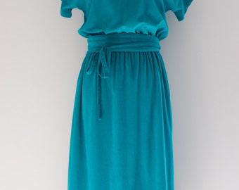 On Hold: Vintage 1970's Teal, Microsuede, Terry, Kimono-Style, Geometric Dress