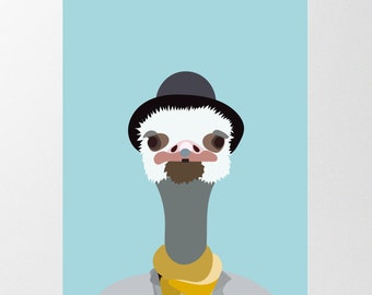 Ostrich Art Print  Anthropomorphic Animal in Clothes   INSTANT DOWNLOAD   Ostrich Poster   Printable Nursery Art   Bird Art   Nursery Art