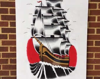 Traditional Clipper Ship Painting