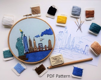New York, USA. Hand Embroidery pattern PDF. Embroidery Hoop art, Hand Embroidery, Wall Decor, Housewarming Gift. Free Hand embroidery guide!