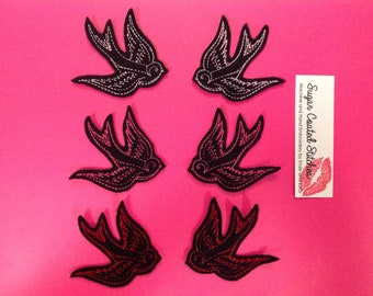 Sailor Jerry Swallow PAIR Tattoo Flash Patch - Sew on, Punk, Rockabilly, Psychobilly, Baby Bright Pink Red, embroidery