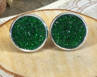 St Patricks Day Earrings - Green Druzy Earrings - Green - Stud Earrings - Irish - Earrings - Jewelry - Green Jewelry - St Patricks Jewelry