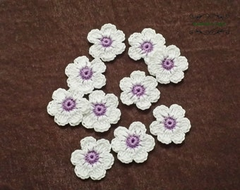 Crochet small flower applique set 10 pcs,Crochet motifs,Embellishments,Baby blanket accessories,Sewing accessories,Crochet motifs