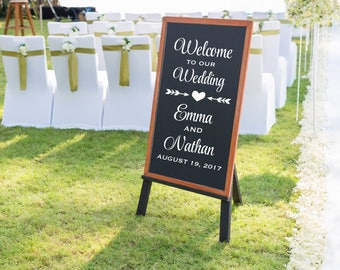 Wedding Welcome Sign Decal - Wedding Sign Decals - Welcome to our Wedding Sign - Personalized Wedding Decal - Wedding Ceremony Sign -DECAL