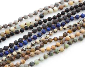 Long Skinny Knotted - Preknotted Necklace-  Assorted Gemstones 4mm- 36 inches Long- Ready to wear- Long Necklace