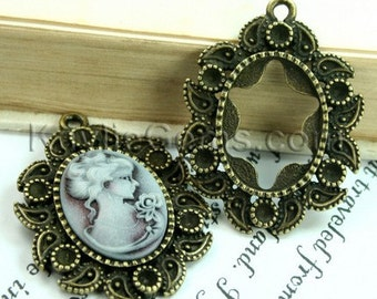 3 pcs Antique Brass Victorian Style Decorative Rhinestone Cameo Cabochon Frame, Setting, Pendants -FRM-A0096