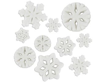 Snowflake Assortment Sugars - edible sugar snowflakes for decorating cupcake, cakes, cookies, and cakepops