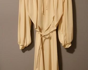 Yellow Chiffon Dress Vintage 1940's 1950's 1980's style