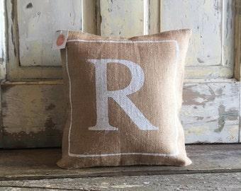 Pillow Cover | Monogram pillow | Burlap Pillow | Wedding, Engagement, Anniversary Gift | Hostess gift | Bridesmaids gift | Couples Bedding