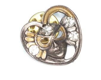 Face Mask Pin Mardi Gras Heart Shape Crystals Tac Back Vintage