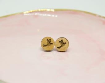 Wooden Dove Earrings - Lasercut Earrings - Dove Earrings - Stud Earrings